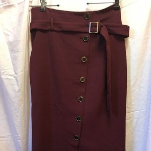 WhiteHouse BlackMarket Burgundy Wine Pencil Skirt